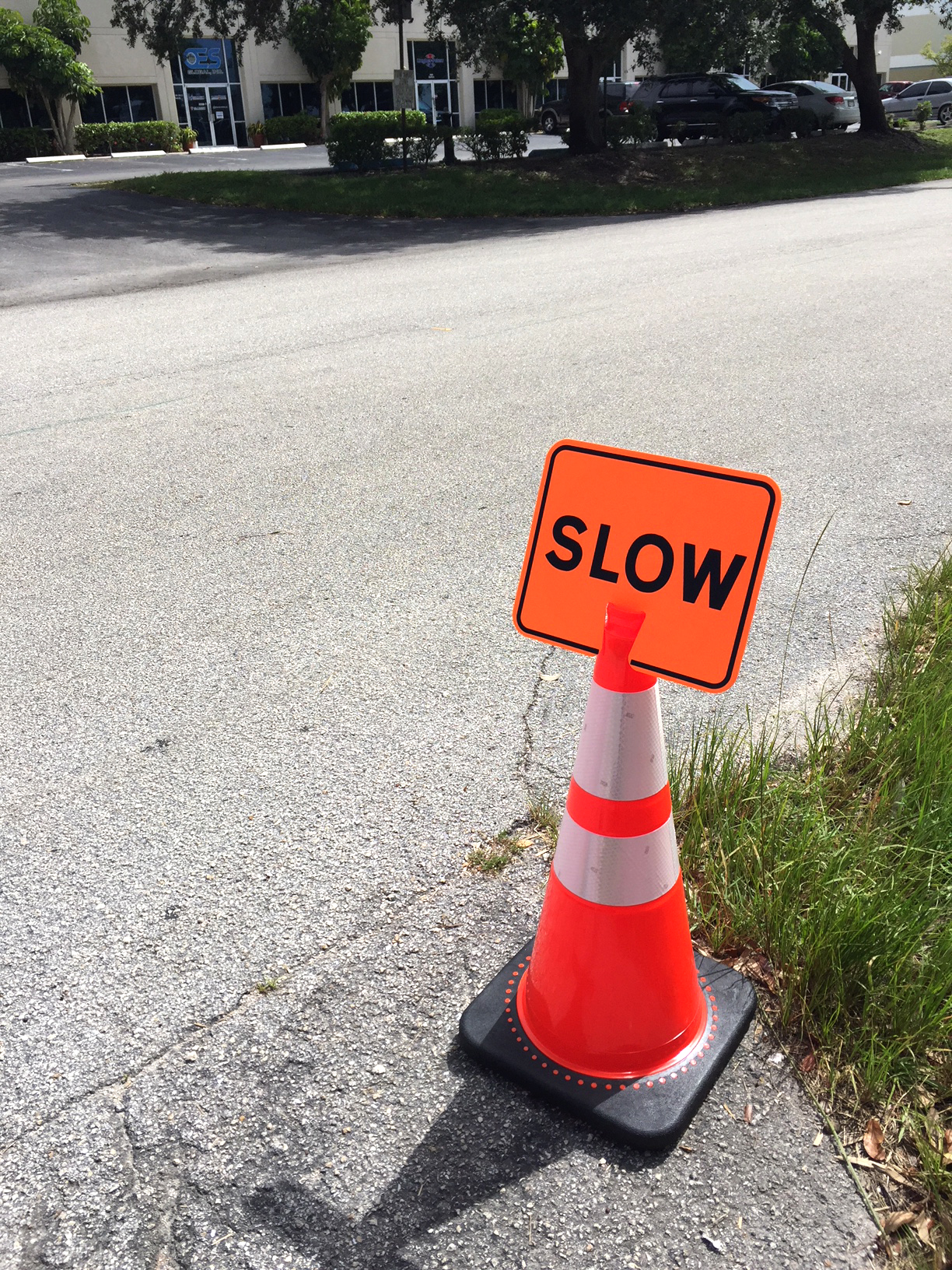 Stanchions For Sale >> Traffic Cone Sign-SLOW (black on orange) - Traffic Cones ...