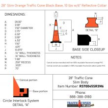 Slim Traffic Cone w/Black Base - 1