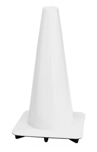 "Lakeside 18"" White Traffic Cones, Made in USA"