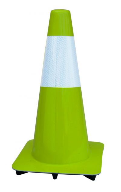 "Buy 18"" Lime-Green Traffic Cones w/6"" Reflective Collar, Made in USA on sale online"