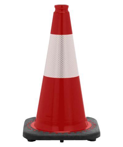 "18"" Red Traffic Cone Black Base, 3 lbs w/6"" Reflective Collar"