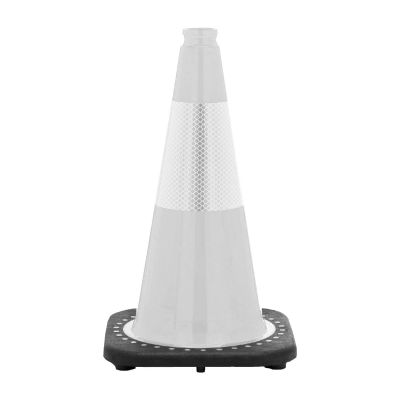 """Buy 18"""" White Traffic Cone Black Base, 3 lbs w/6"""" Reflective Collar on sale online"""