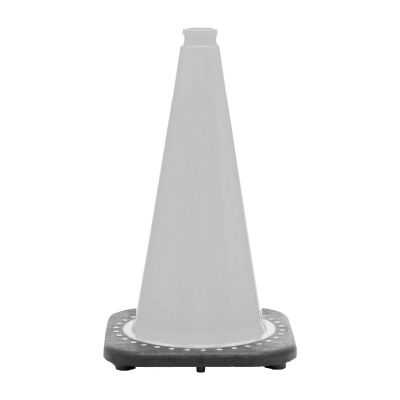 "Buy 18"" White Traffic Cone Black Base, 3 lbs on sale online"