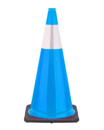 "Buy 28"" Sky Blue Traffic Cone Black Base, 7 lbs w/6"" Reflective Collar on sale online"