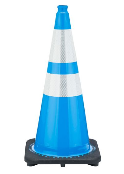 "Buy 28"" Sky Blue Traffic Cone Black Base, 7 lbs w/ 6"" & 4"" 3M Reflective Collar on sale online"