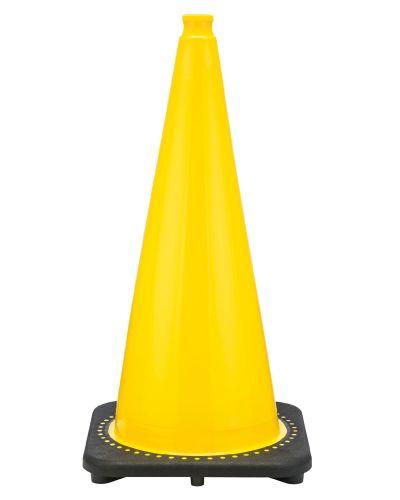 "28"" Yellow Traffic Cone Black Base, 7 lbs"