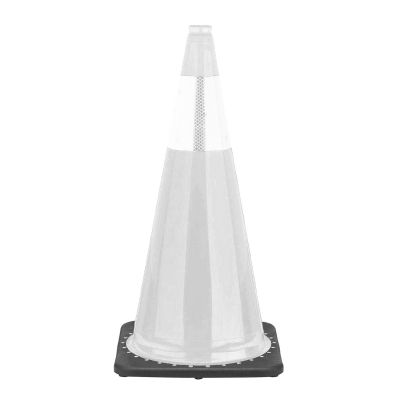 "Buy 28"" 7 lbs White Cone w/Black Base w/1 Reflective Collars 6"" on sale online"
