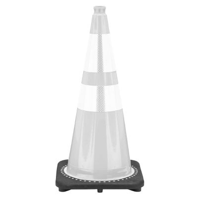 "Buy 28"" 7 lbs White Cone w/Black Base w/2 Reflective Collars 4"" & 6"" on sale online"
