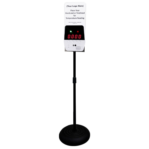 Infrared Wrist & Forehead Temperature Scanner Stand with Custom Sign Option