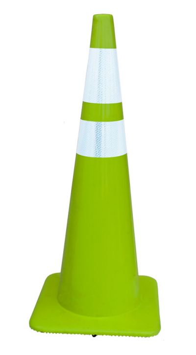 "36"" All Lime-Green 10 lbs Traffic Cones w/4"" and 6"" Collars Made in USA"