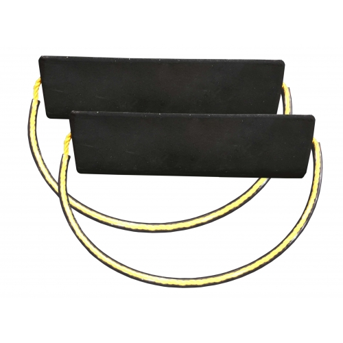 Aircraft Chocks Pair with Vinyl Tubing over Yellow Rope Handle