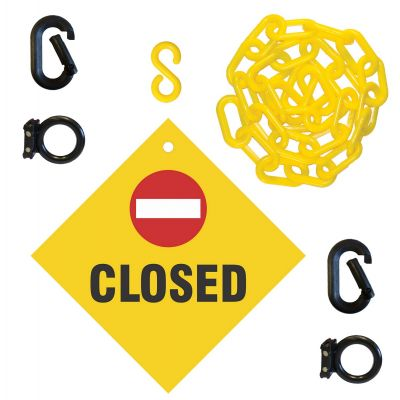 Closed Sign & Magnet Ring Carabiner Kit w/Plastic Chain