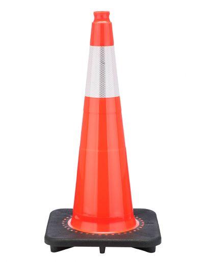 "Buy 28"" Slim Orange Traffic Cone Black Base, 7 lbs w/6"" Reflective Collar on sale online"