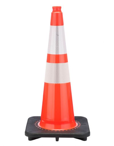 "Buy 28"" Slim Orange Traffic Cone Black Base, 7 lbs w/ 6"" & 4"" 3M Reflective Collar on sale online"