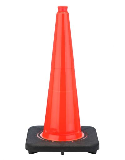 "Buy 28"" Slim Line Orange Traffic Cone Black Base, 10 lbs on sale online"