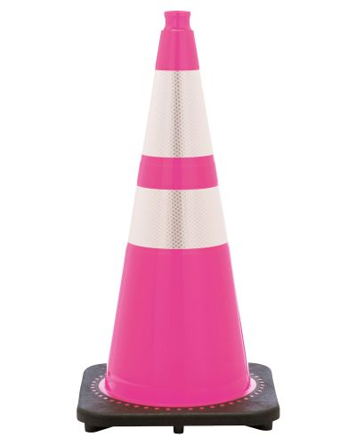 "Buy 28"" Pink Breast Cancer Cone Black Base, 7lbs w/ 6"" & 4"" 3M Reflective Collar on sale online"