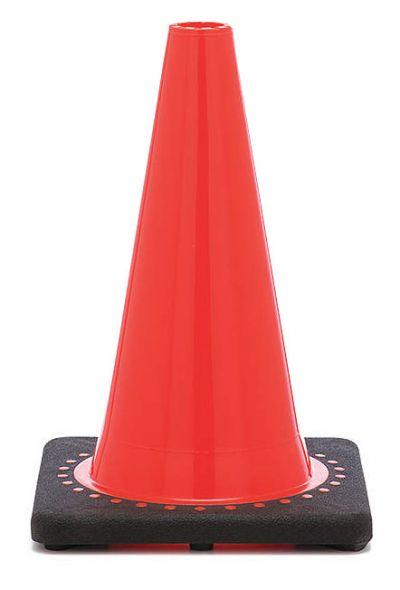 "12"" Orange Traffic Cone Black Base, 1.5 lbs"