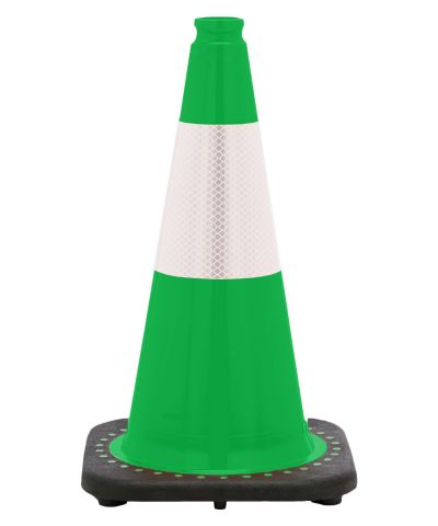 "Buy 18"" Kelly Green Traffic Cone Black Base, 3 lbs w/6"" Reflective Collar on sale online"
