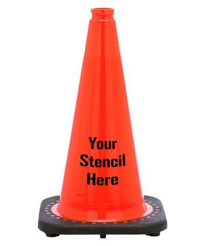 "Buy FREE STENCIL 18"" Orange Traffic Cone Black Base, 3 lbs on sale online"