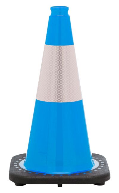 "Buy 18"" Sky Blue Traffic Cone Black Base, 3 lbs w/6"" Reflective Collar on sale online"