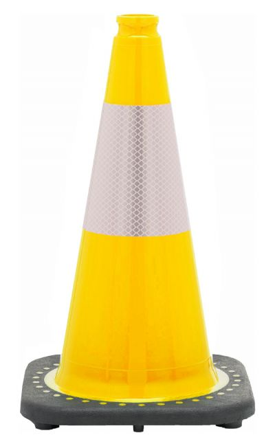 "Buy 18"" Yellow Traffic Cone Black Base, 3 lbs w/6"" Reflective Collar on sale online"