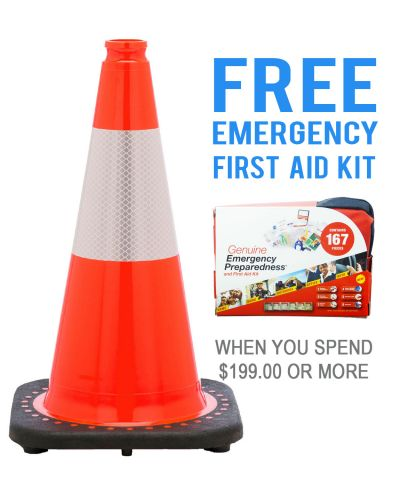 """Buy 18"""" Orange Traffic Cone w/6"""" 3M Reflective Collar & FREE First Aid Kit on sale online"""