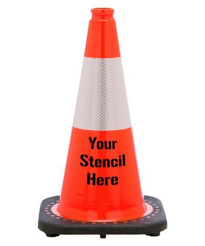 "Buy FREE STENCIL 18"" Orange Traffic Cone Black Base, 3 lbs w/6"" 3M Reflective Collar on sale online"