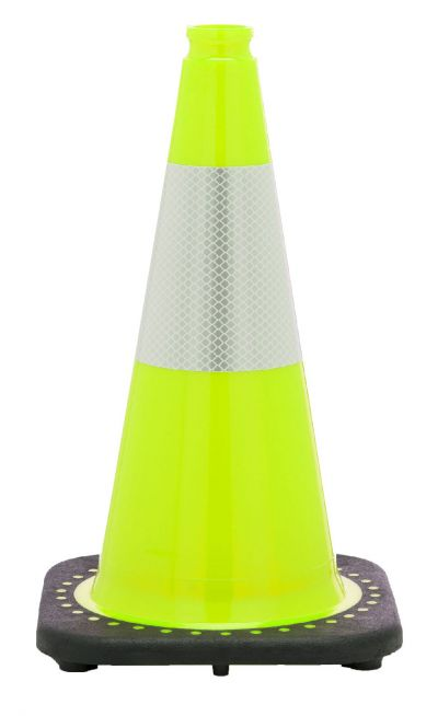"Buy 18"" Lime Green Traffic Cone Black Base, 3 lbs w/6"" Reflective Collar on sale online"