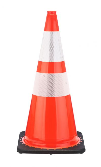 "Buy 28"" Orange Traffic Cone Black Base, 5.5 lbs w/ 6"" & 4"" 3M Reflective Collar on sale online"