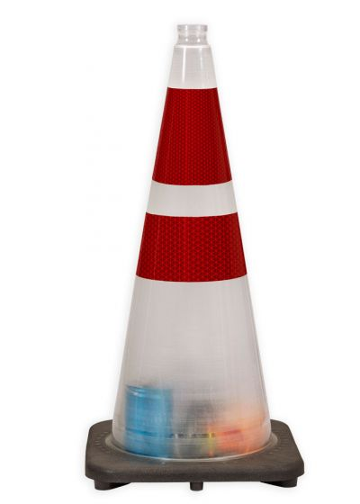 "28"" Anti Terrorism Clear Traffic Cone, 7 lbs w/ 6"" & 4"" 3M  Red Reflective Collar"