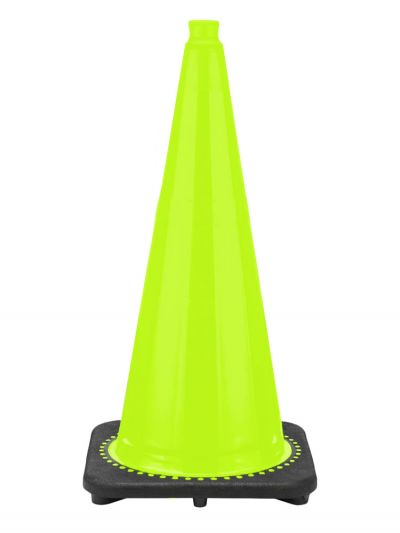 "Buy 28"" Lime Green Traffic Cone Black Base, 7 lbs on sale online"