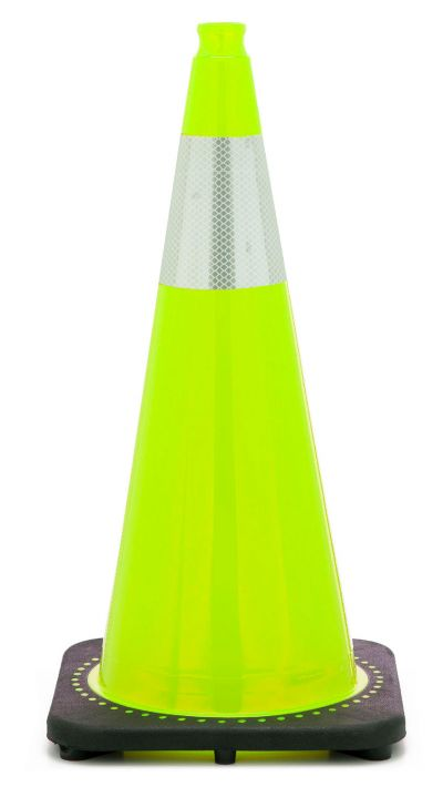 "Buy 28"" Lime Green Traffic Cone Black Base, 7 lbs w/6"" Reflective Collar on sale online"