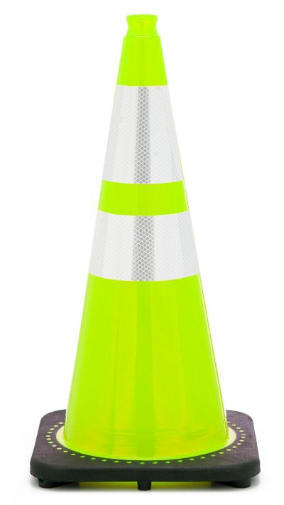"Buy 28"" Lime Green Traffic Cone Black Base, 7 lbs w/ 6"" & 4"" 3M Reflective Collar on sale online"