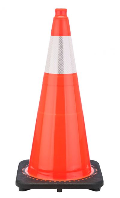 "Buy 28"" Orange Traffic Cone Black Base, 7 lbs w/6"" Reflective Collar on sale online"