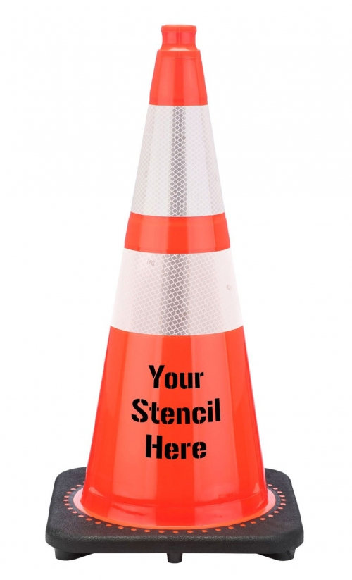 "Buy FREE STENCIL 28"" Orange Traffic Cone Black Base, 7 lbs w/ 6"" & 4"" 3M Reflective Collar on sale online"