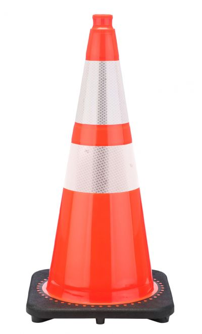 "Buy 28"" Orange Traffic Cone Black Base, 7lbs w/ 6"" & 4"" 3M Reflective Collar on sale online"