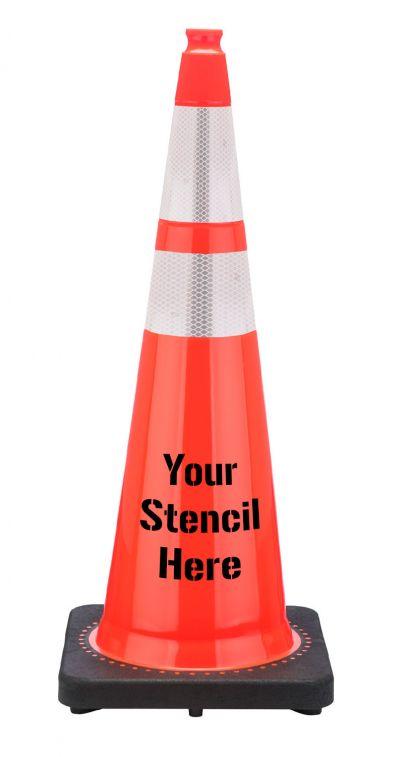 "Buy FREE STENCIL FL DOT 36"" Orange Traffic Cone, 12 lbs w/ 6"" & 4"" 3M Reflective Collar on sale online"