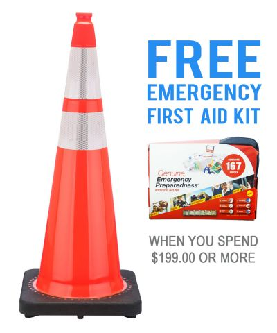 """Buy 36"""" Orange Traffic Cone w/ 6"""" & 4"""" 3M Reflective Collar  & FREE First Aid Kit on sale online"""
