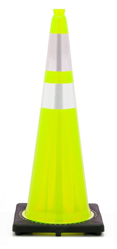 "Buy 36"" Lime Green Traffic Cone Black Base, 10 lbs w/ 6"" & 4"" 3M Reflective Collar on sale online"