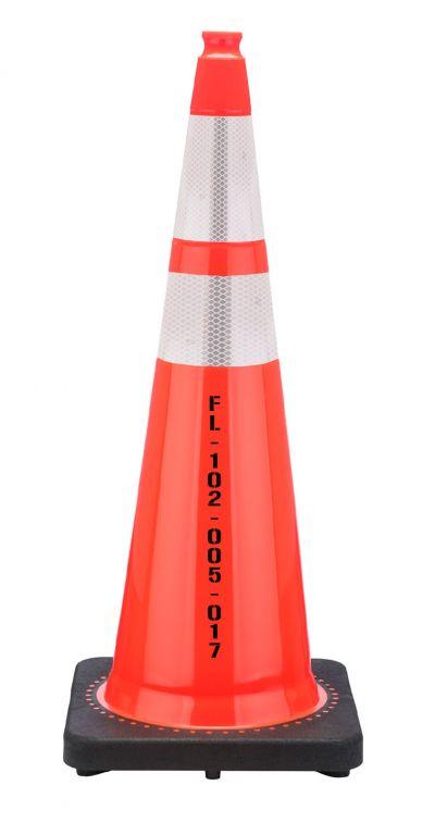 "FL DOT 36"" Orange Traffic Cone, 12 lbs w/ 6"" & 4"" 3M Reflective Collar"