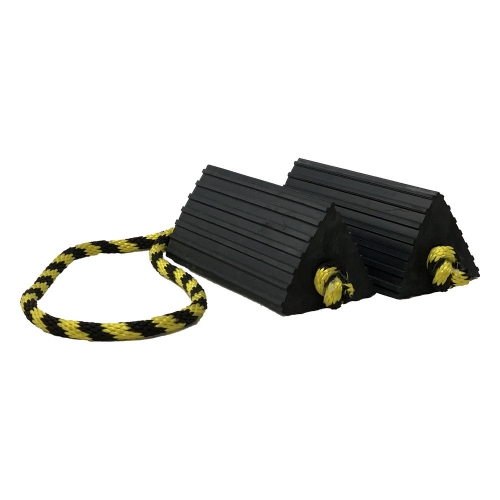 Small Ribbed Aircraft Chocks Pair with Yellow and Black Rope Connector