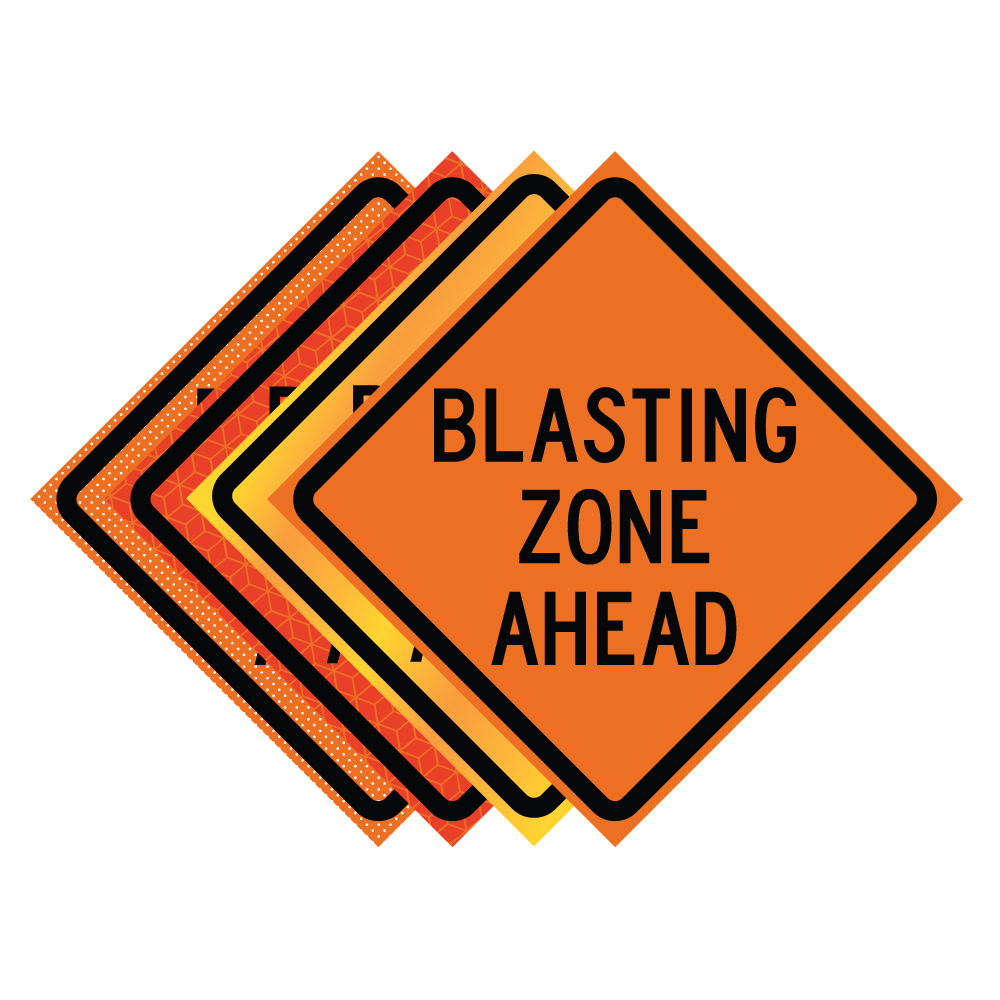 48 Quot X 48 Quot Roll Up Traffic Sign Blasting Zone Ahead