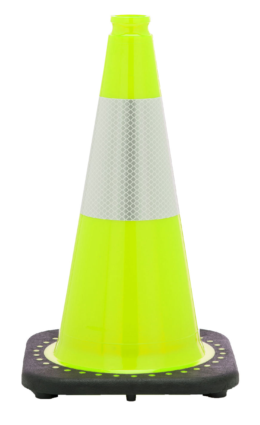 "Stanchions For Sale >> 18"" Lime Green Cone w/Black Base w/Reflective Collar 6"" - Traffic Cones For Less"