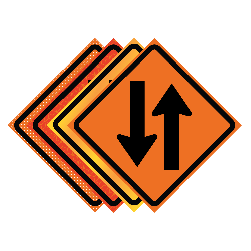 48 Quot X 48 Quot Roll Up Traffic Sign Two Way Traffic Symbol