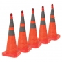 """28"""" Collapsible Pop Up Orange Cone w/Light 6"""" & 4"""" Reflective Collar (Pack of 5)"""