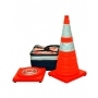 """28"""" Orange Collapsible Pop Up Cone Kit w/LED Light 6"""" & 4"""" Reflective Collar (4 or 5 pack)"""