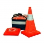 """18"""" Orange Collapsible Pop Up Cones w/ LED Light (Pack of 4)"""