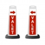 Valet White Vertical Panel w/Red Arrow /Reflective Sign V5