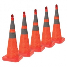 "28"" Collapsible Pop Up Orange Cone w/Light 6"" & 4"" Reflective Collar (Pack of 5)"