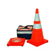 "28"" Orange Collapsible Pop Up Cone Kit w/LED Light 6"" & 4"" Reflective Collar (4 or 5 pack)"